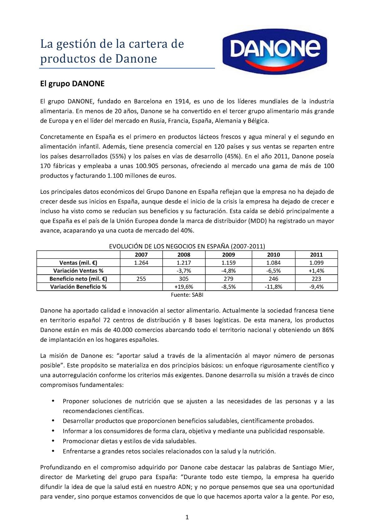 e92a7dc14a Cartera Productos Danone - G3071326  Dirección Comercial - StuDocu