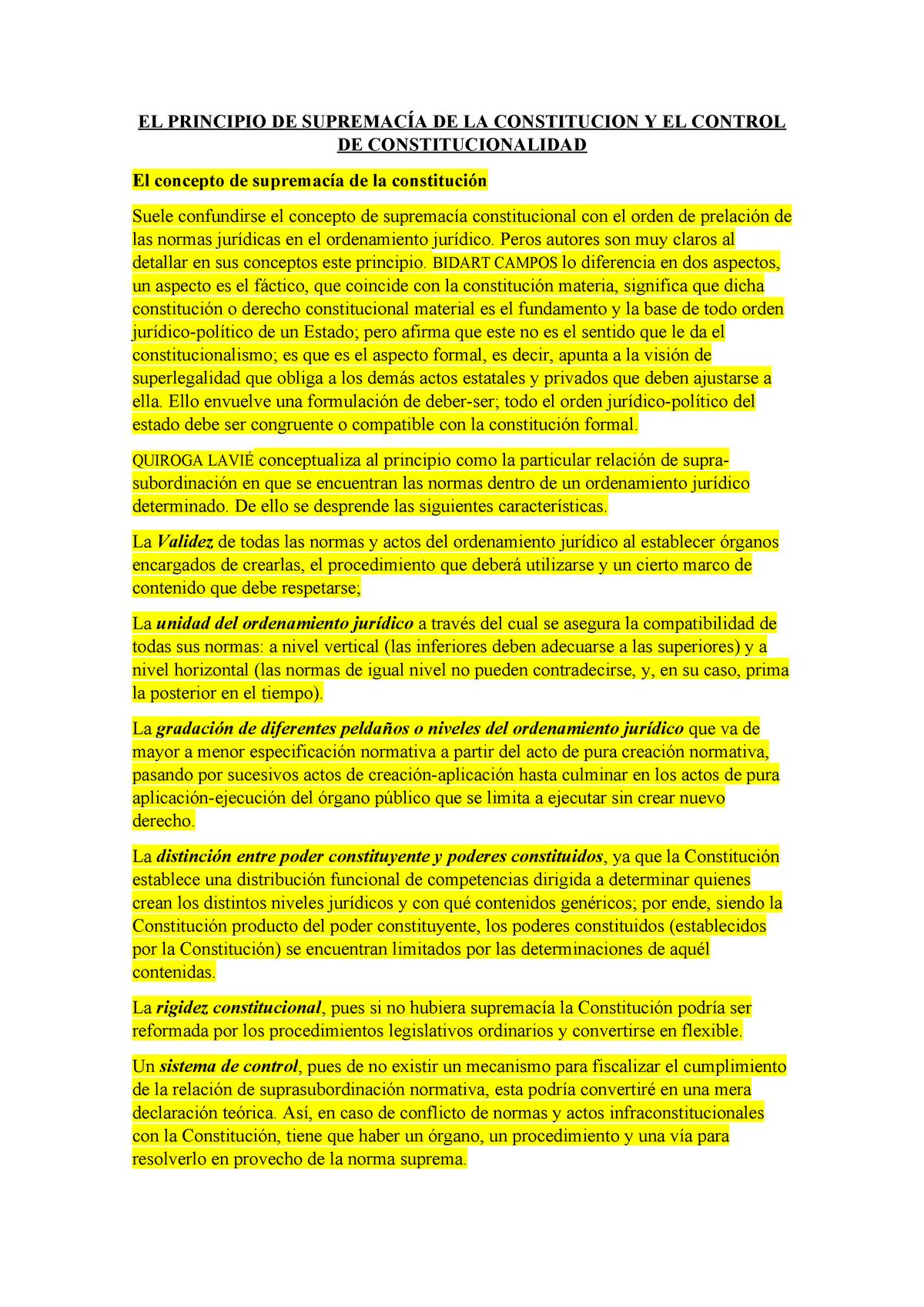 El Principio De Supremacía De La Constitución Y El Control