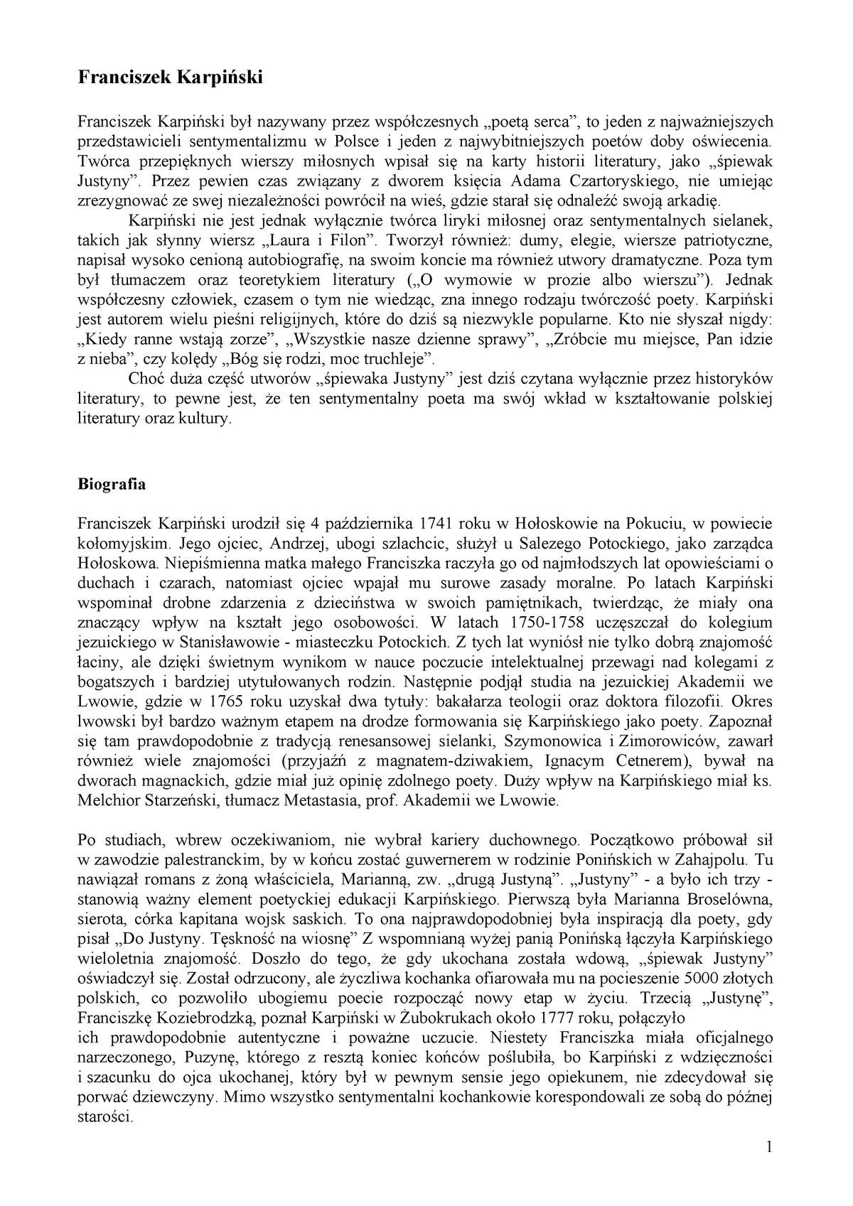 Karpiński Franciszek Filologia Polska Filologia Polska