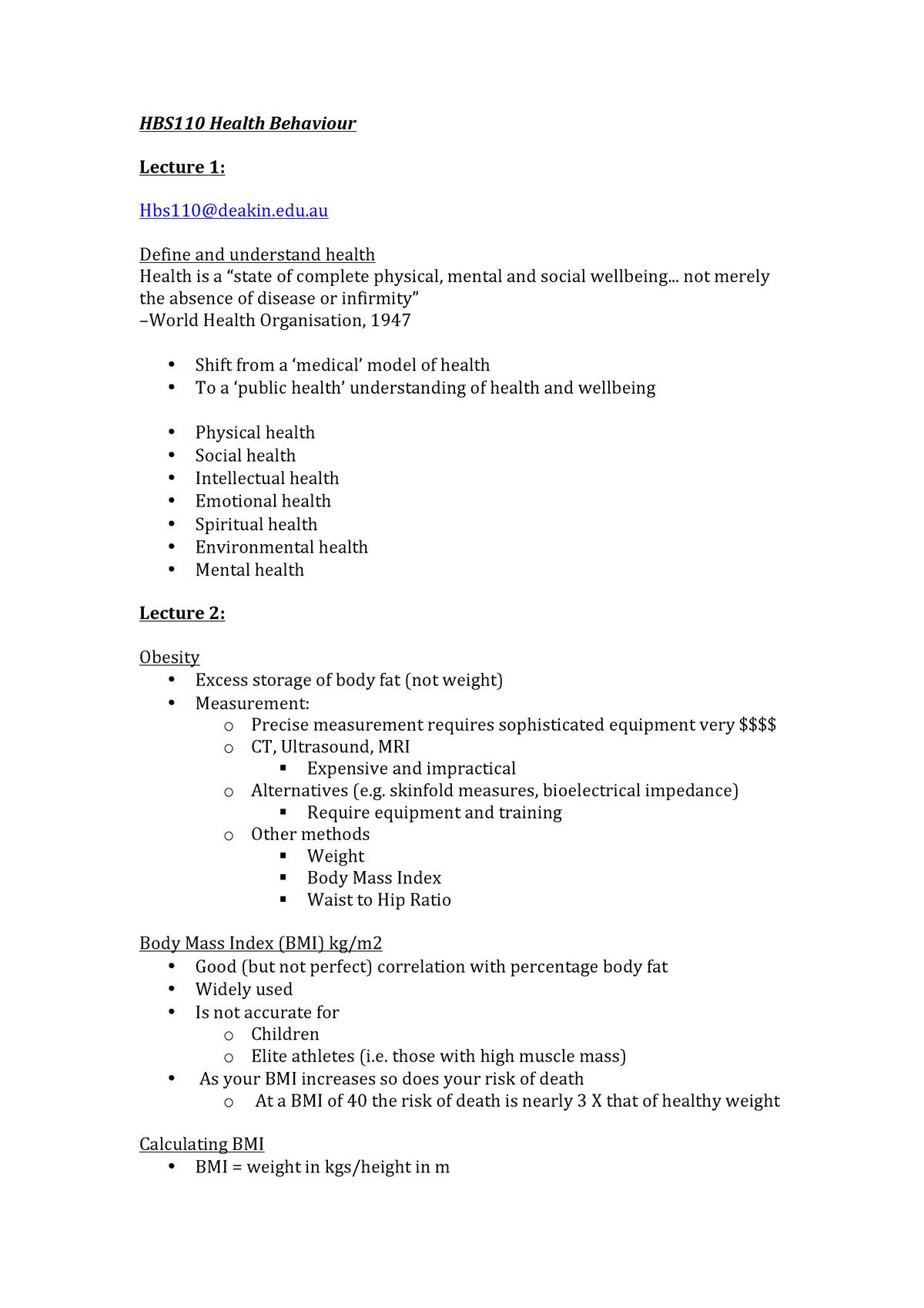 HBS110 Health Behaviour lecture notes - HBS110: Health Behaviour