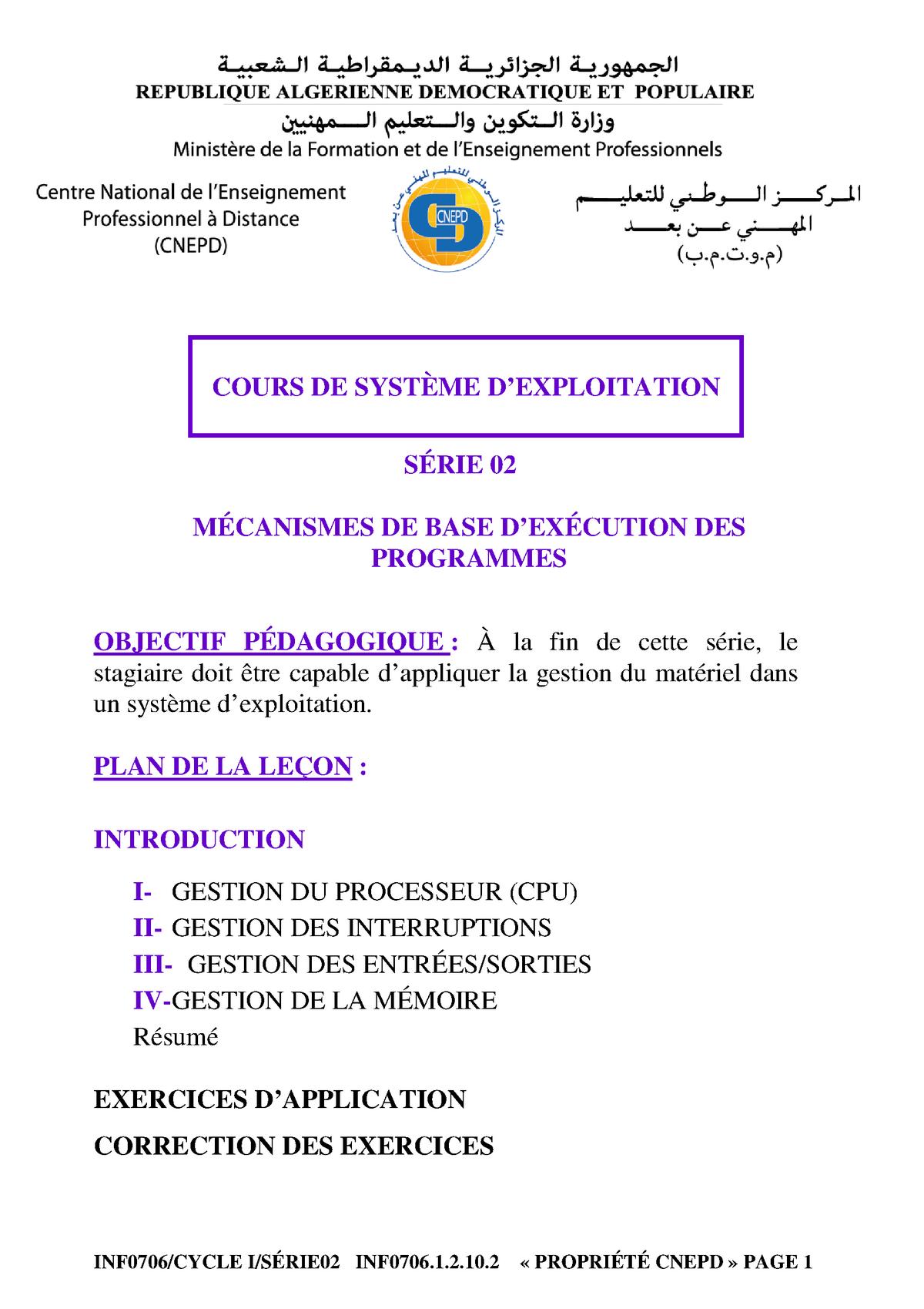 10 Systeme D Exploitation Notes De Cours 2 Studocu