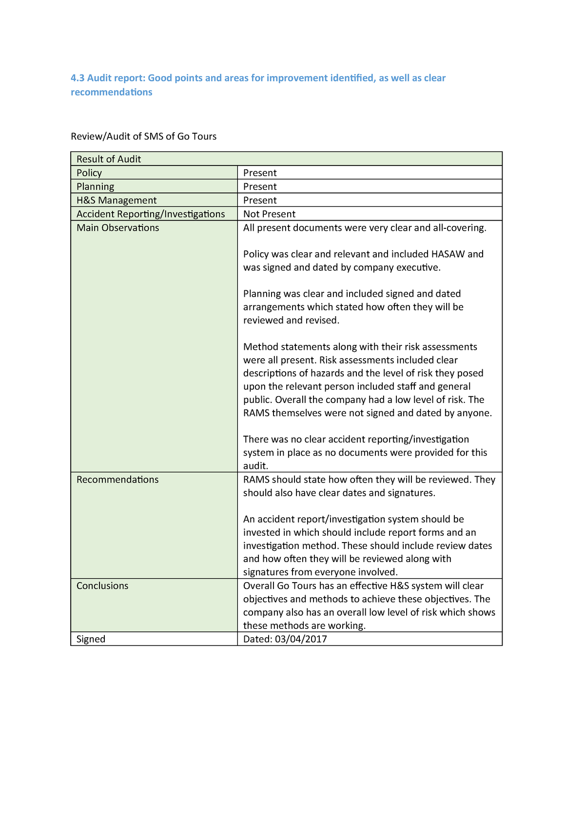 4 3  Audit report - Good points and areas for improvement