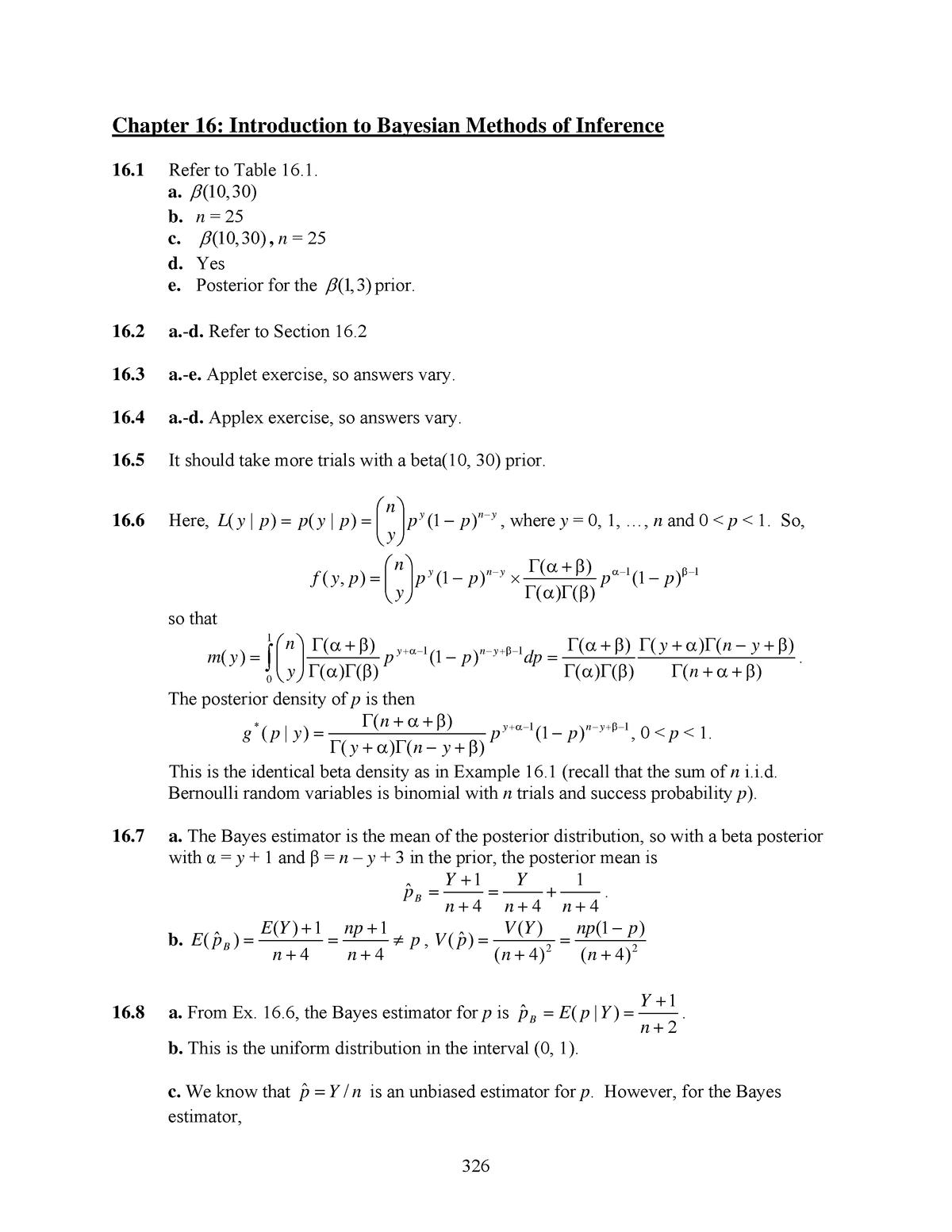 ISM chapter 16 - Antwoordenboek Mathematical Statistics with