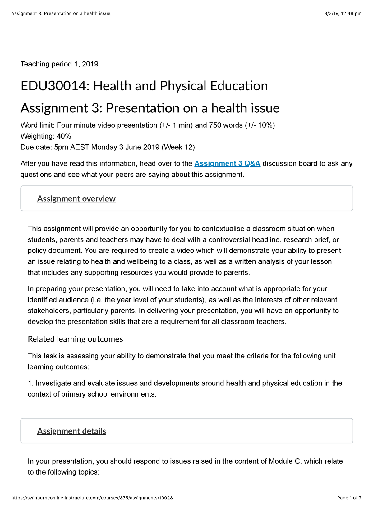 Assignment 3: Presentation on a health issue - EDU30014: Health and