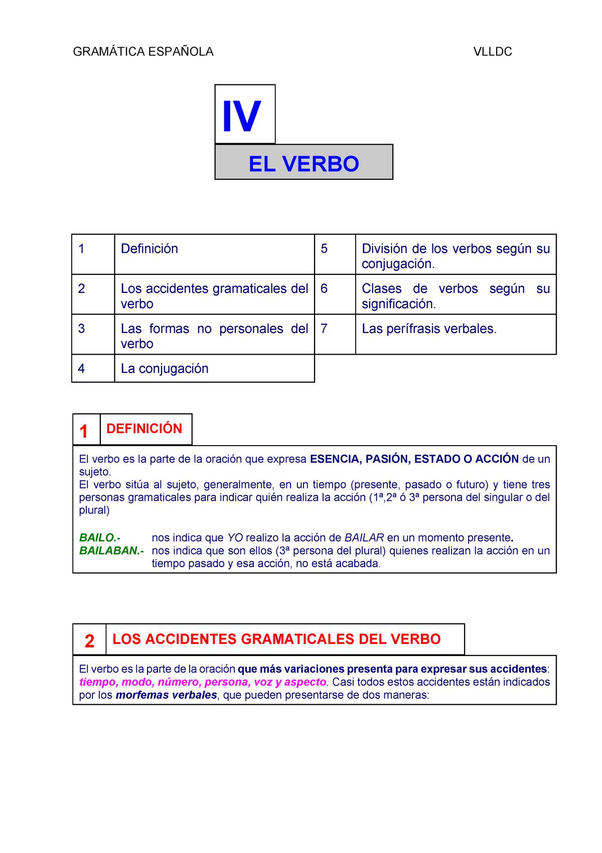 04 Verbos Apuntes Estructura Del Lenguaje Lin118 Pucp