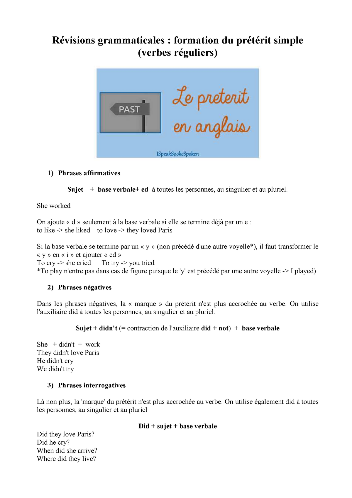 Revisions Grammaticales Formation Preterit Verbes Reguliers Visions Grammaticales Formation Du Pr Rit Simple Verbes Guliers Phrases Affirmatives Sujet Base Studocu