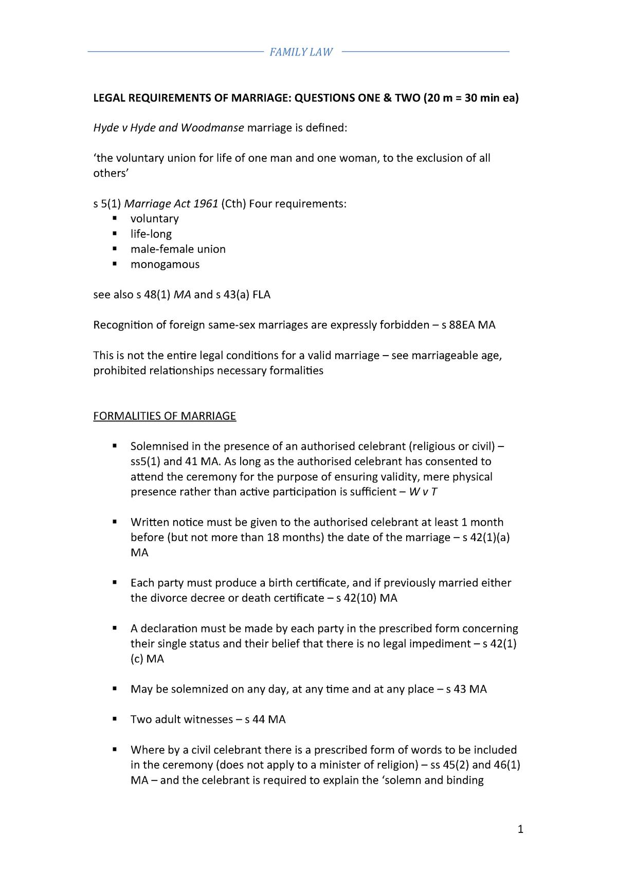 Summary exam Notes - Family Law BLB3136 - StuDocu