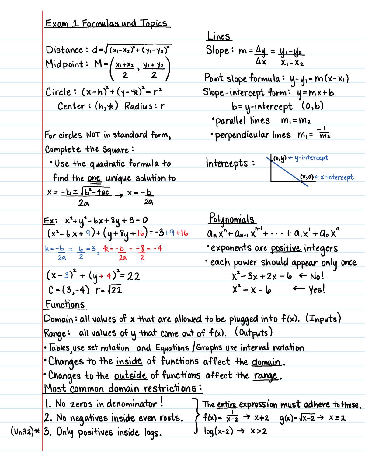 Math 1113 Unit 1 Study Guide - MATH 1113E: Precalculus - StuDocu