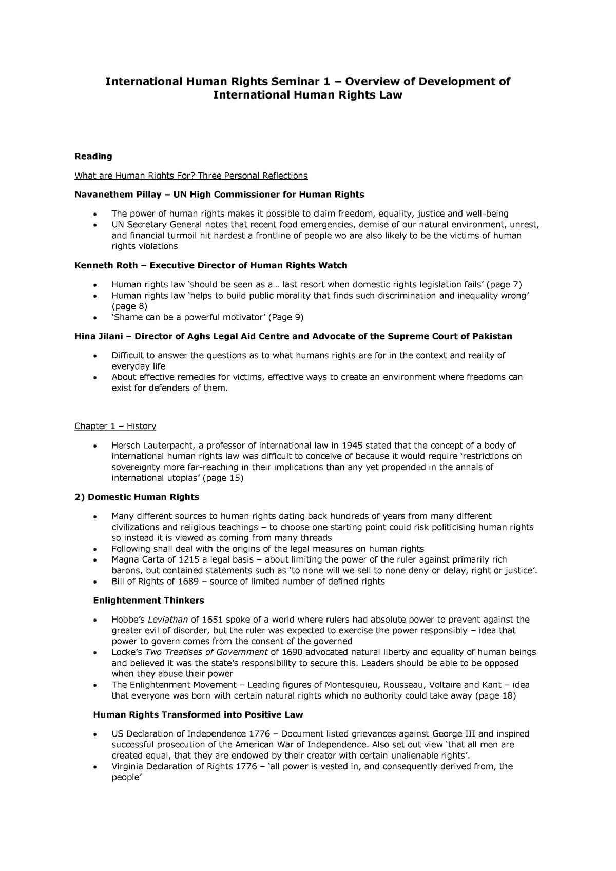 Summary International Human Rights Law - seminars 1-9