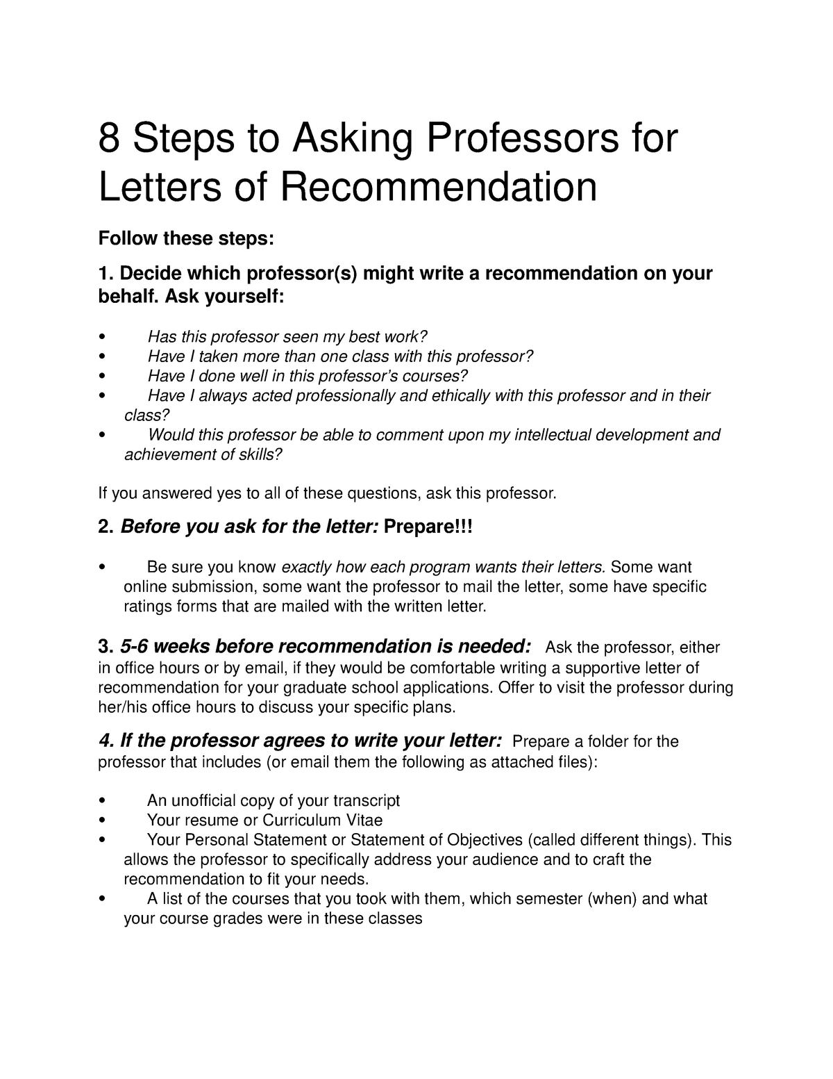 How to ask for a letter of recommendation - PSY 3074 - UCF
