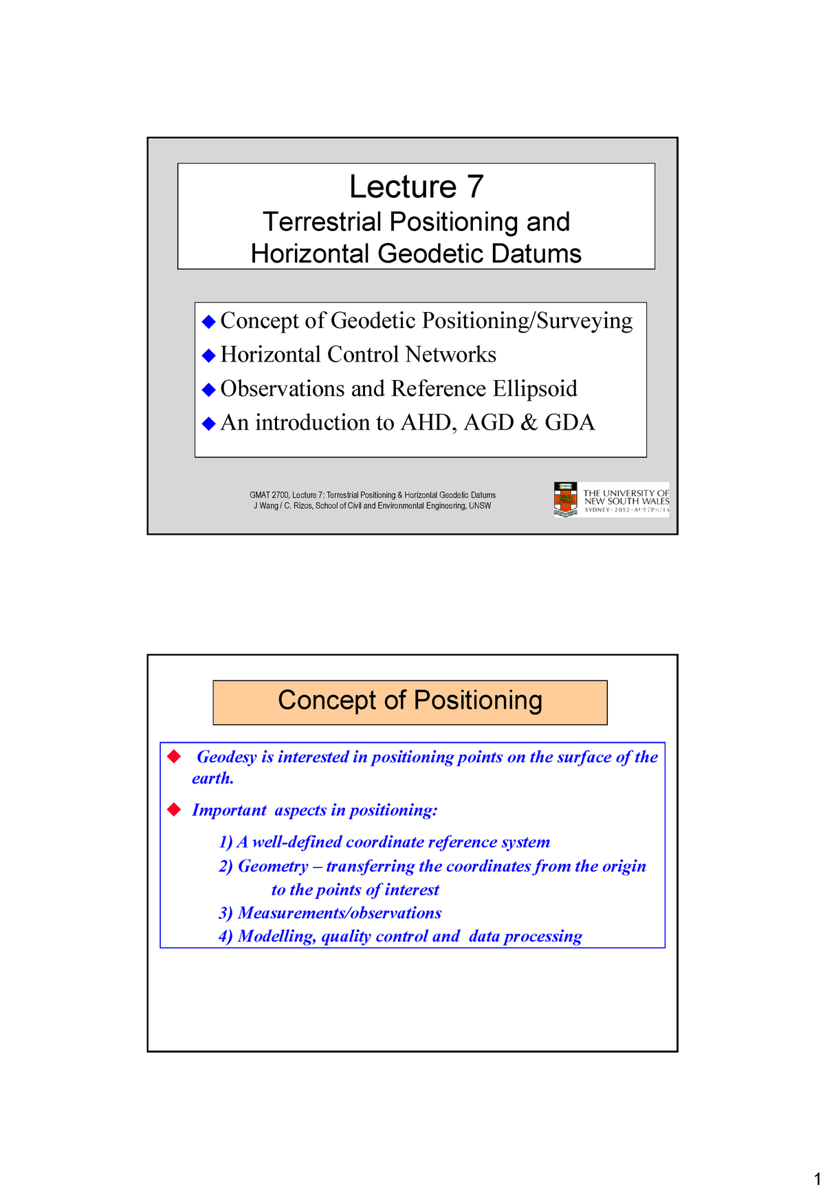 Lecture 7 Terrestial Positioning and Horizontal Geodetic