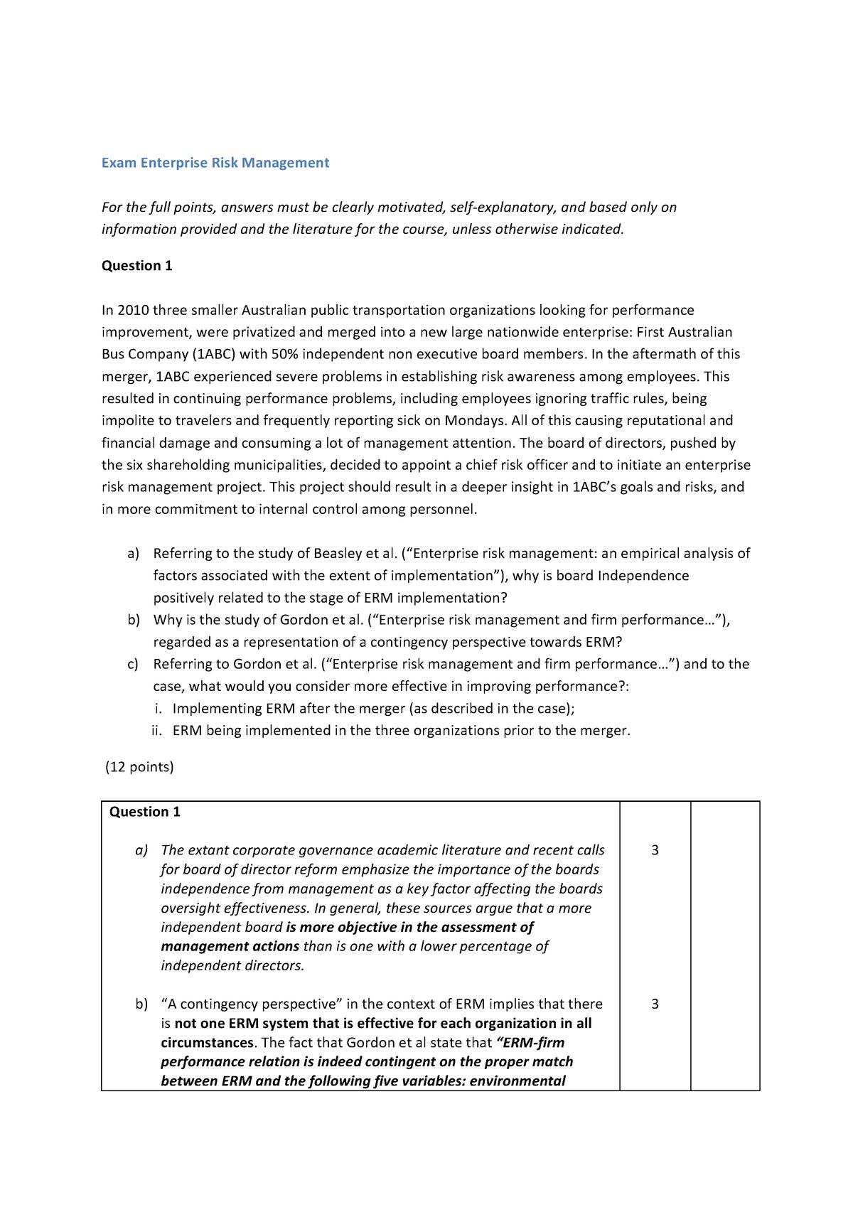Tentamen 2017 - EBM157A05: Enterprise Risk Management - StudeerSnel nl