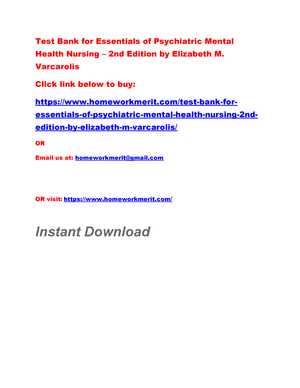 Test Bank For Essentials Of Psychiatric Mental Health Nursing 2nd