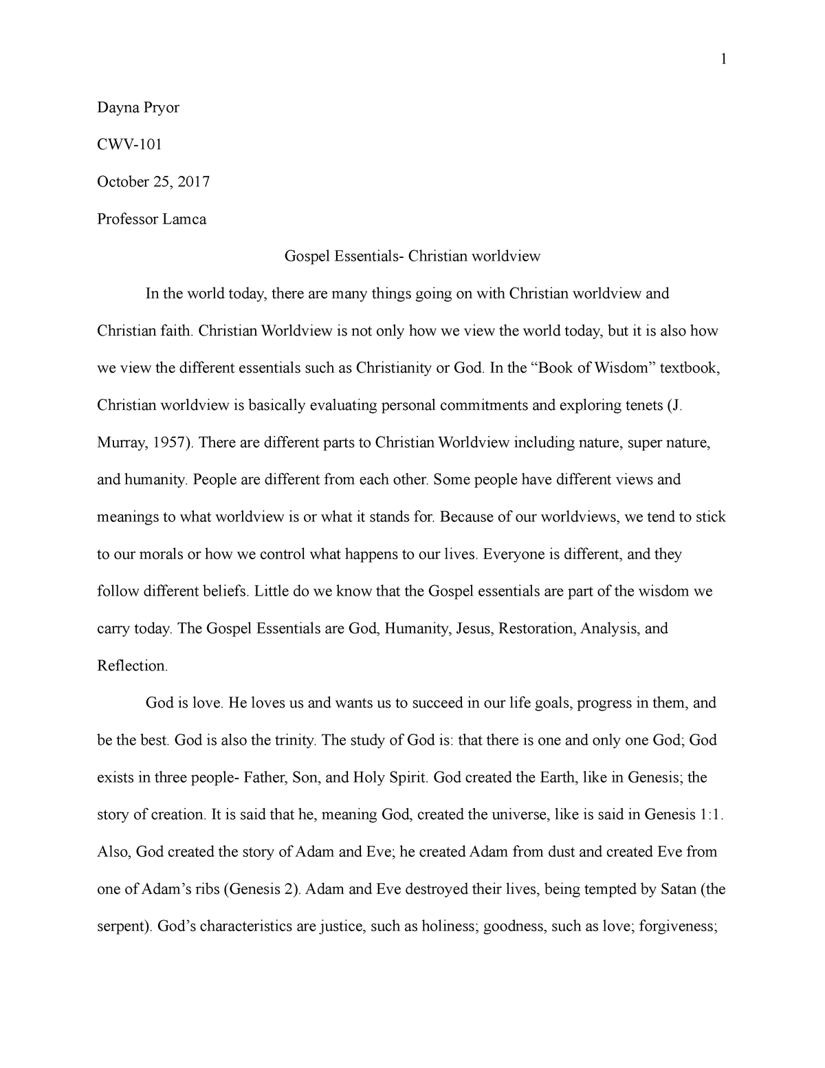 Check Out Our Christian Worldview Essay