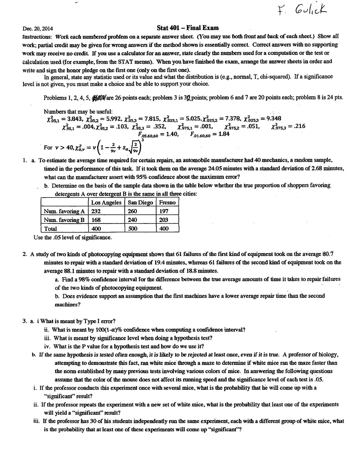 Exam 2014 - STAT401: Applied Probability and Statistics II - StuDocu
