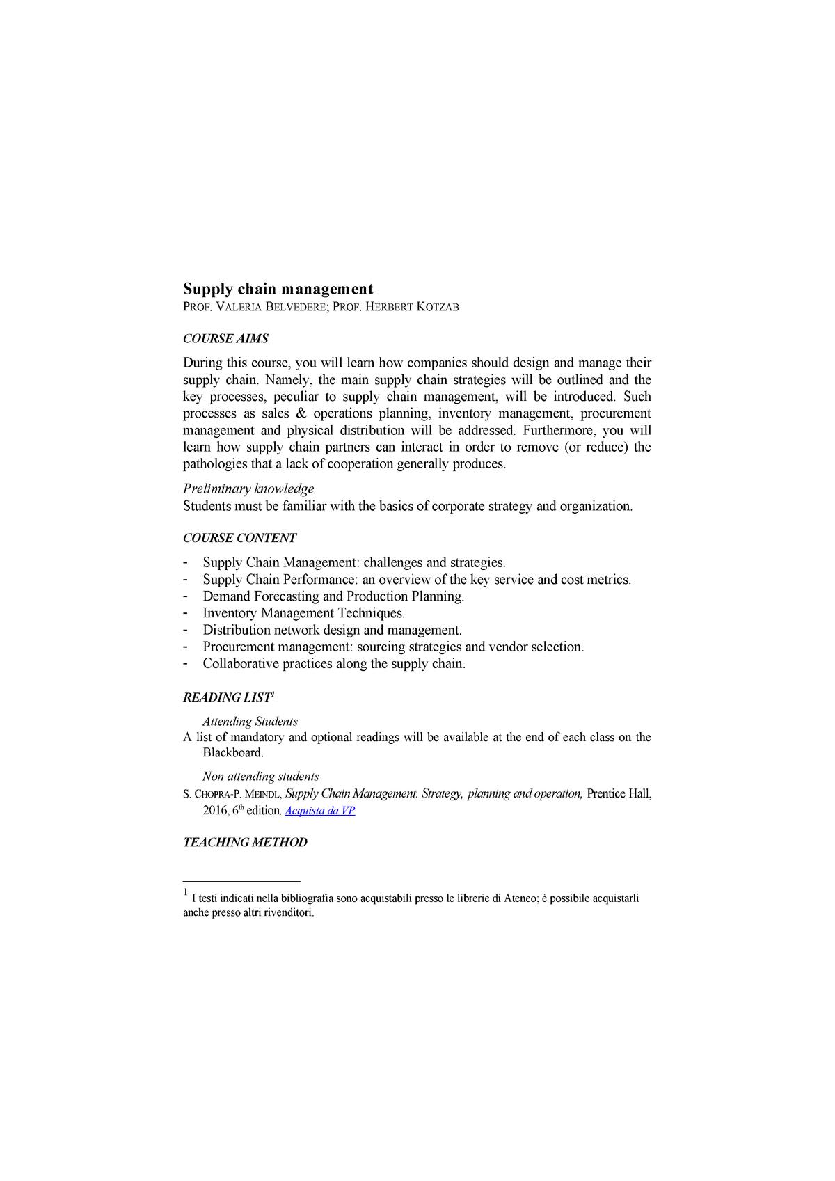Supply chain management Belvedere - Informatica i 00062
