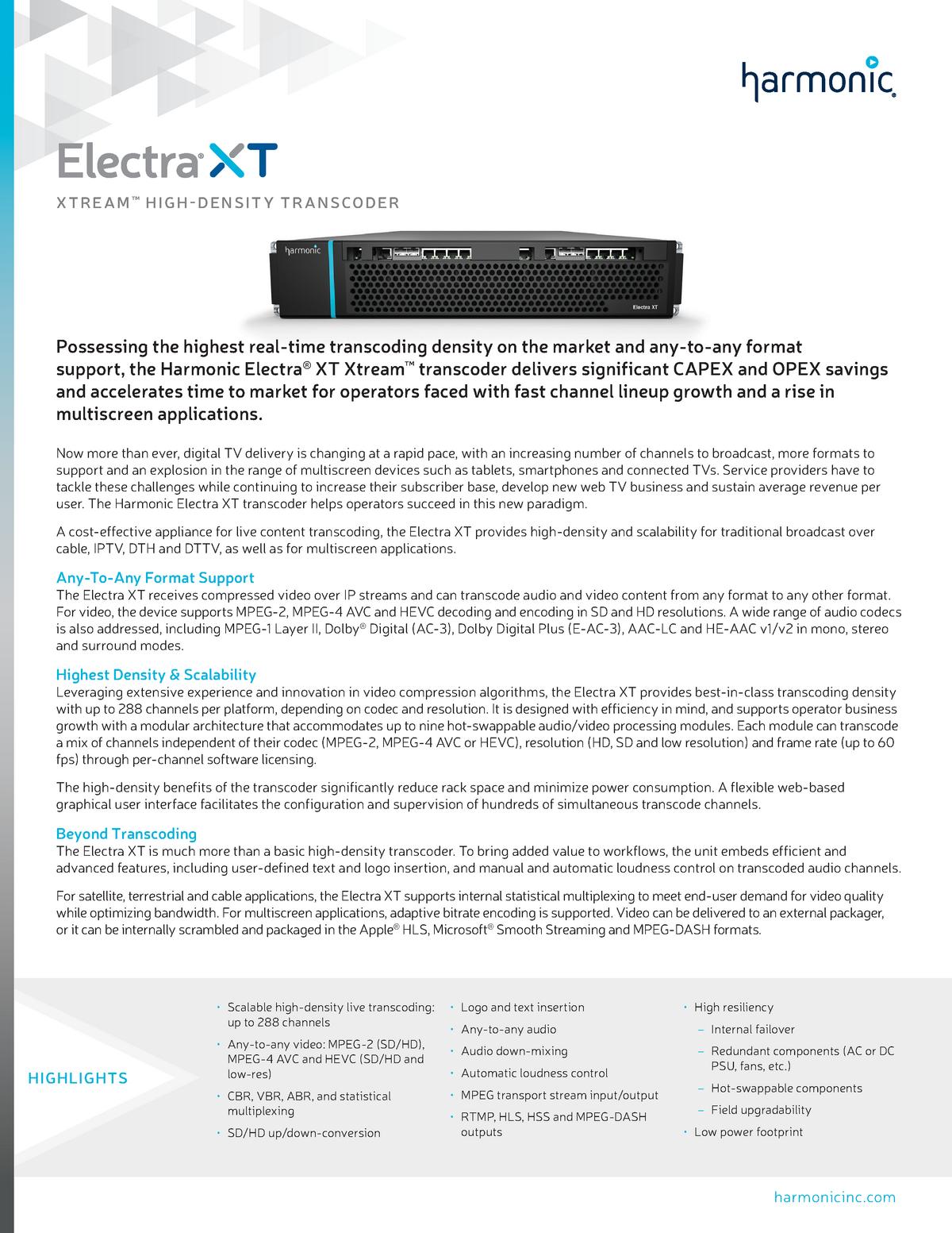 Harmonic DS Electra XT - College-aantekeningen 1 - JDE-SEMUX