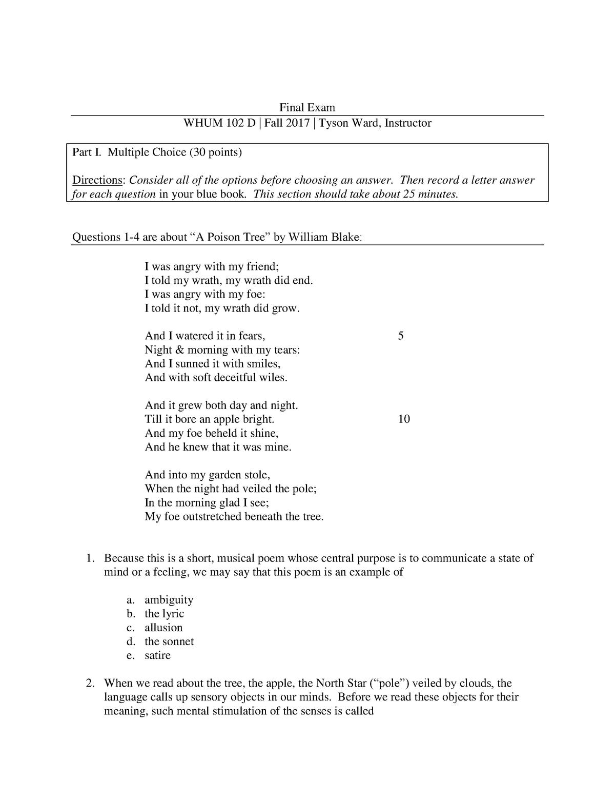 Exam 2017 - WHUM 10200: World Humanities - StuDocu