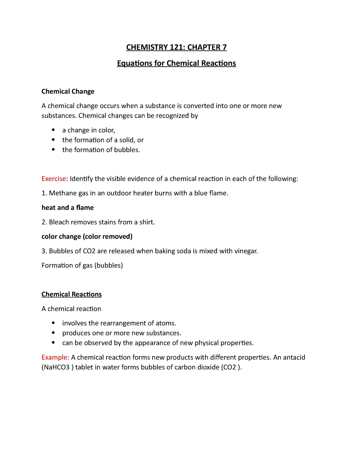 CHE 121 Chap 7 - Equations for Chemical Reactions - CHE 202