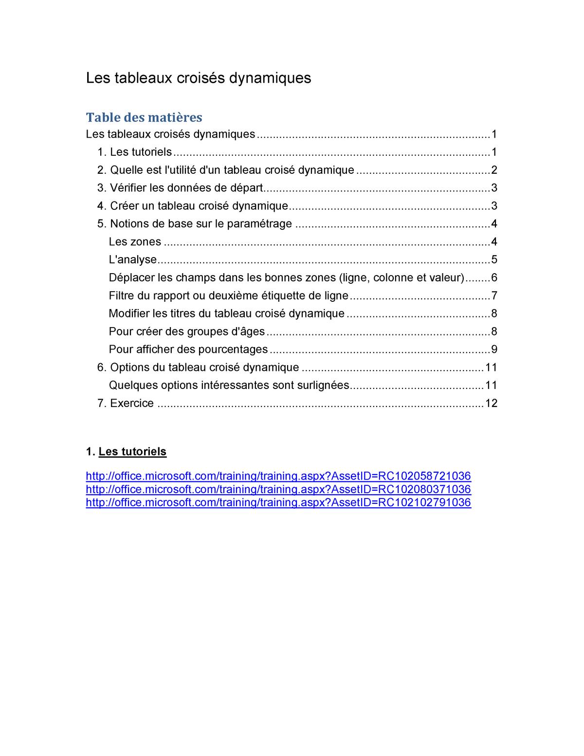 Excel Les Tableaux Croises Dynamiques Studocu