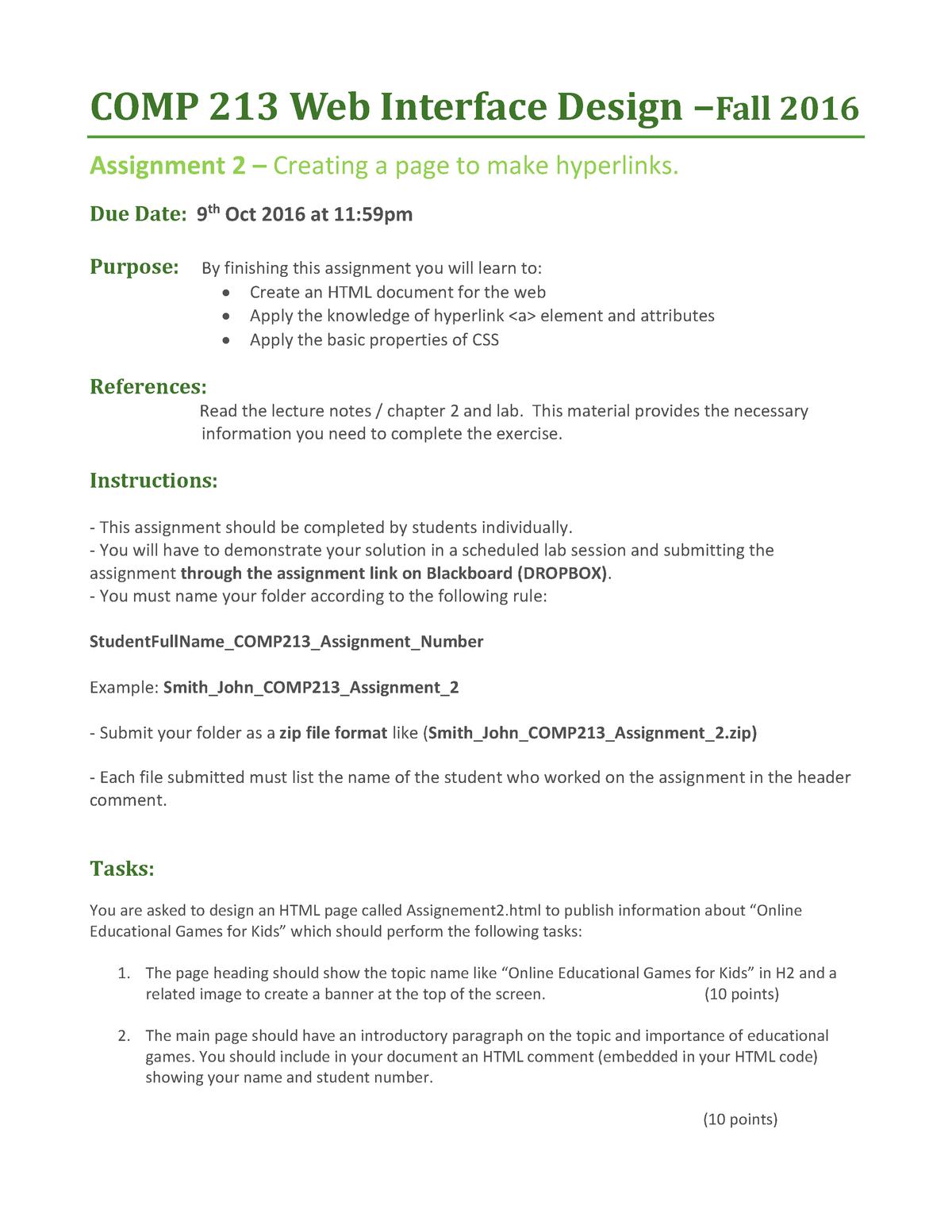 Assignment 2 COMP213 2016 F - COMP 213: Web Interface Design - StuDocu