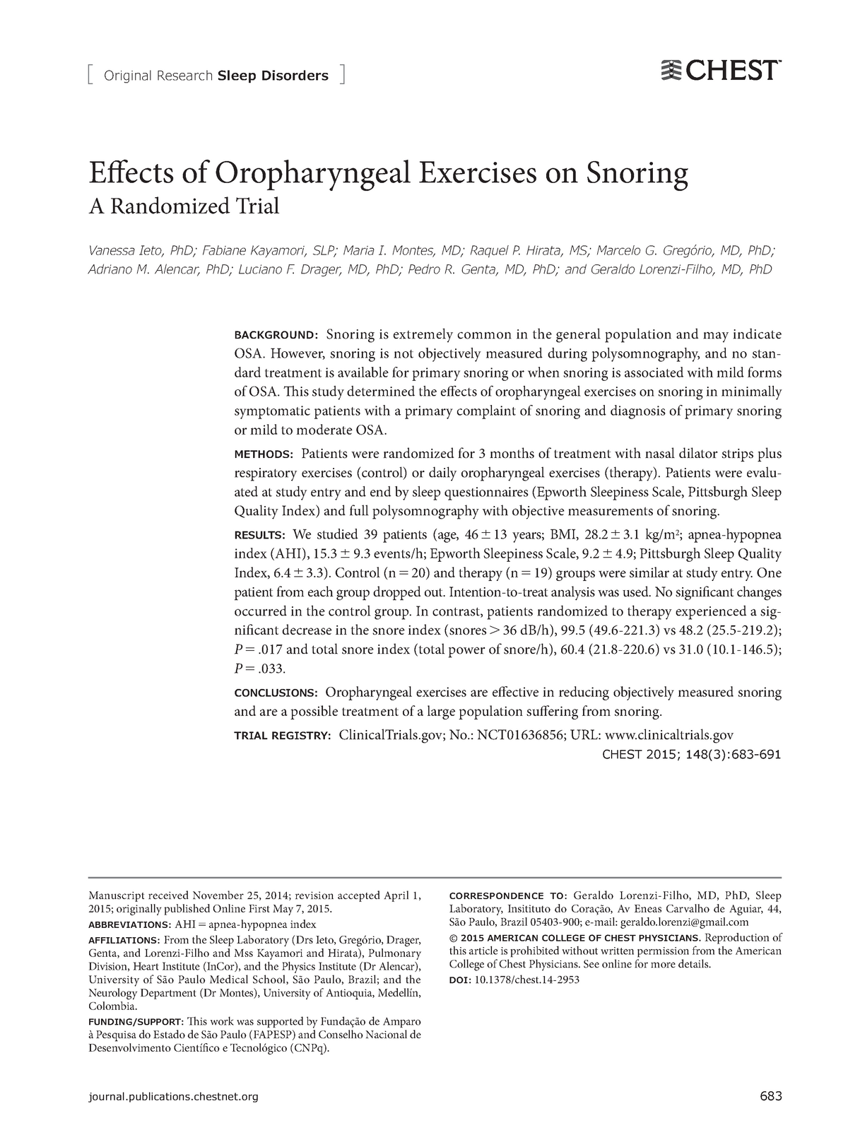 Eff ects of Oropharyngeal Exercises on Snoring - 202007