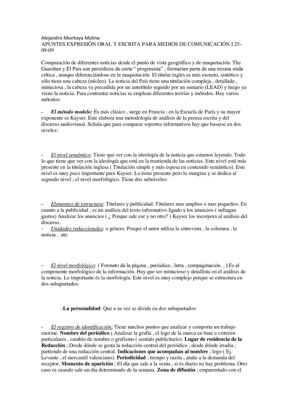 Apuntes 25 09 2009 16 11 2009 Expresión Oral Y Escrita