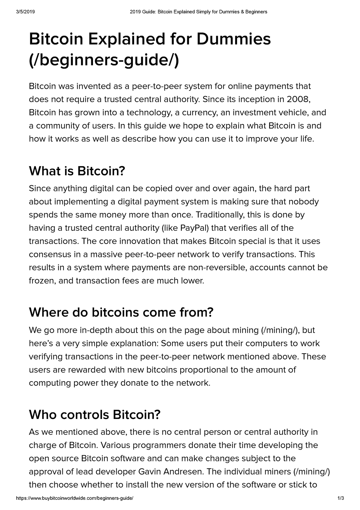 bitcoins for dummies explained sum
