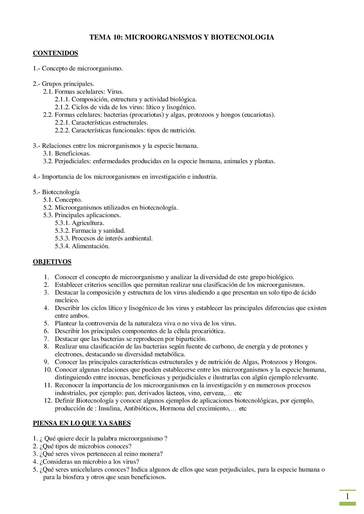 Tema 10 - Microbiología - Biología 100437 - UCO - StuDocu