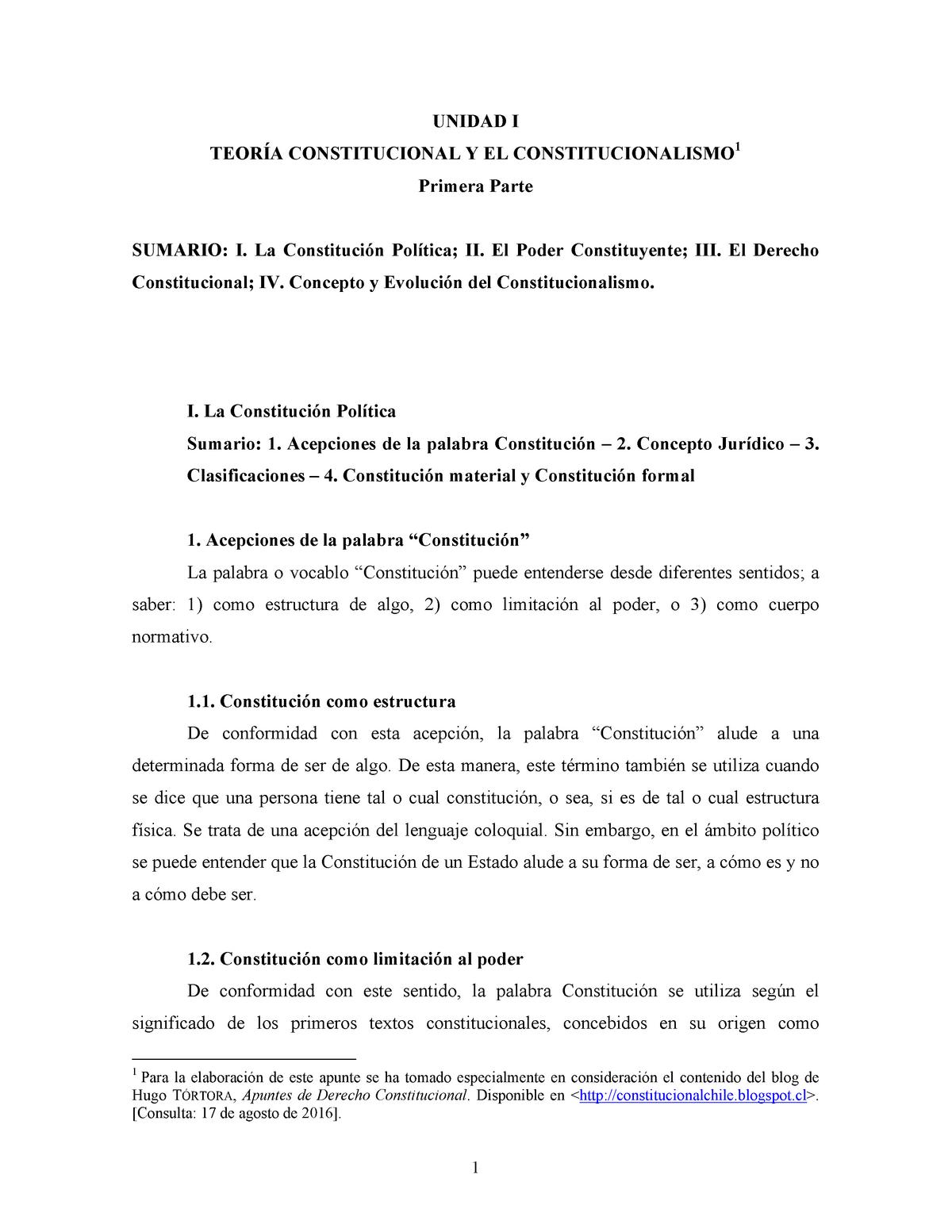 Unidad I Teoria Constitucional Y Constitucionalismo Primera