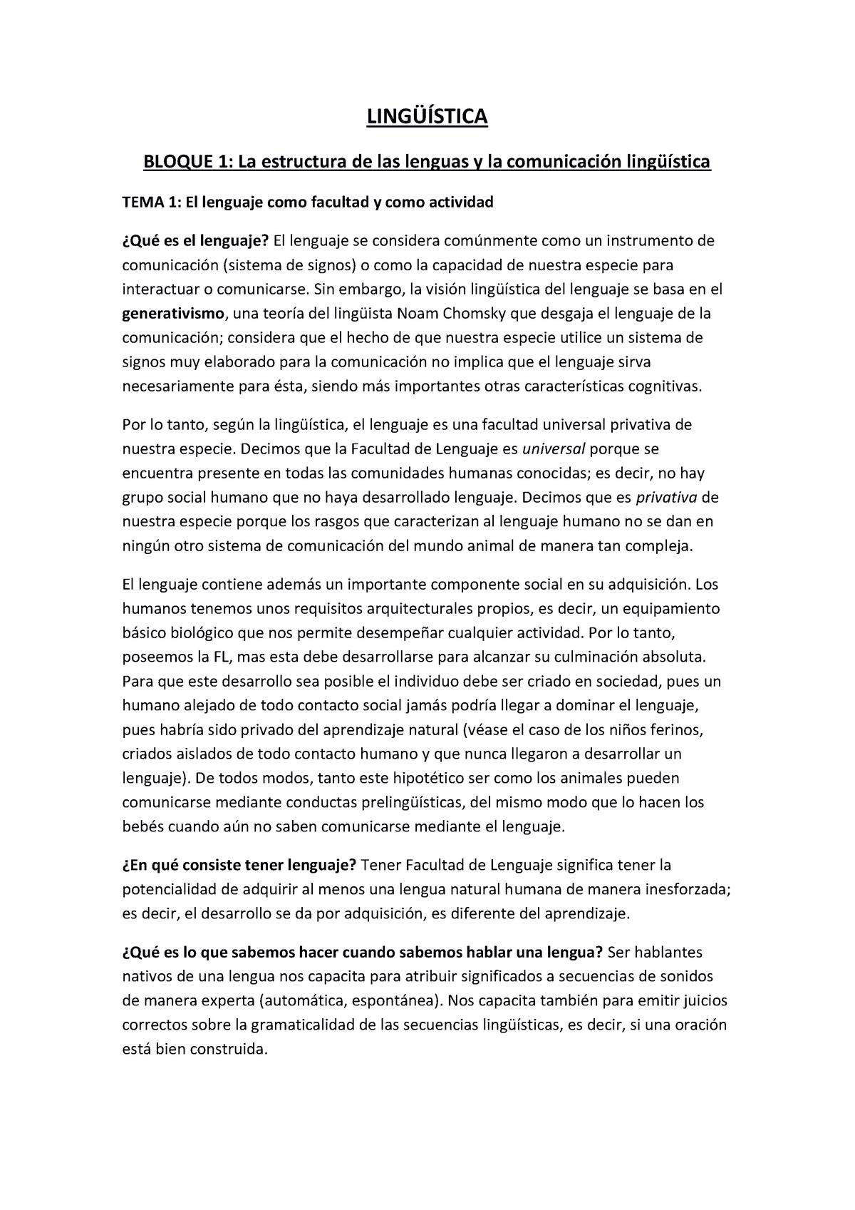 Linguistica Apuntes De Clase 1 4 Lingüística Uniovi