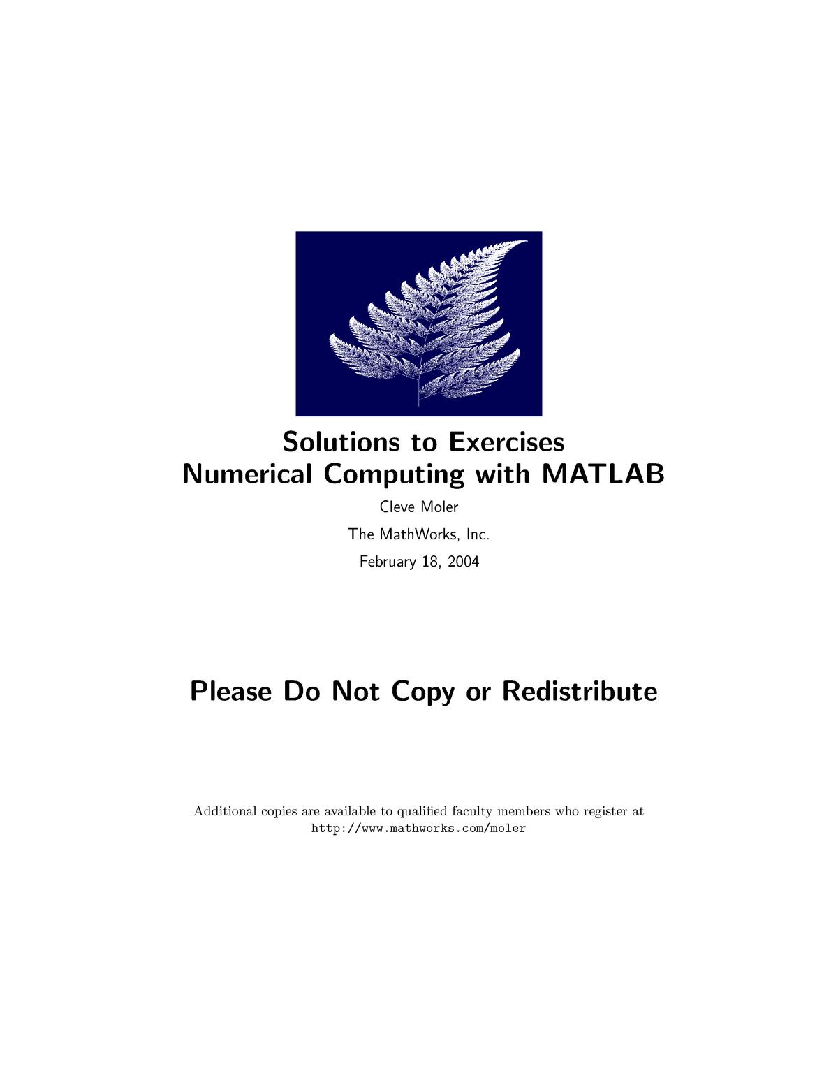 Matlab in Engineering Mechanics - Solution Manual