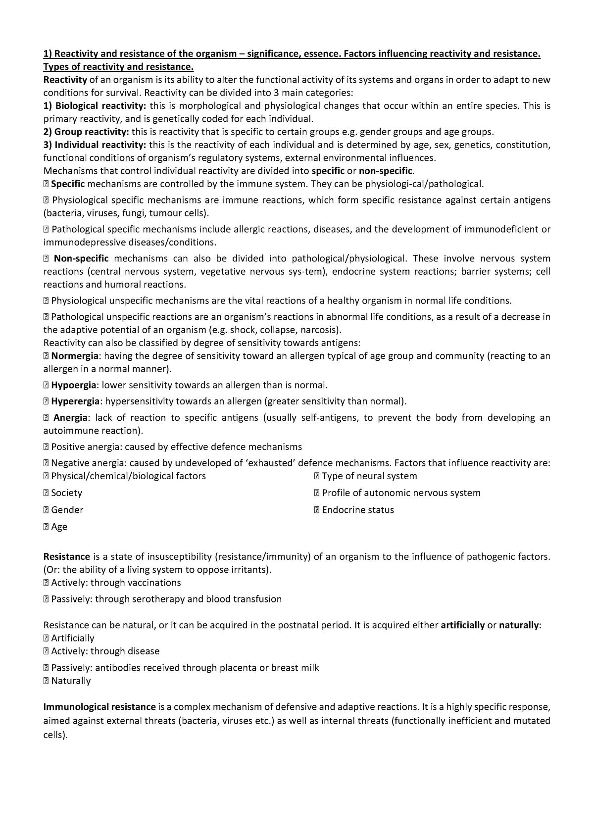 Pathophysiology full notes - MBBS1: Medicine - StuDocu