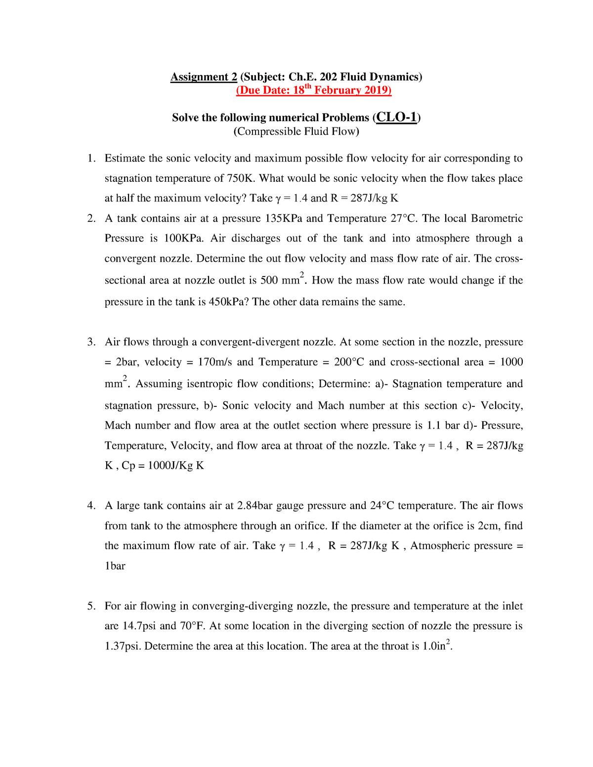 Assignment 2 (Ch E  202) - Che 202: Fluid Dynamics - StuDocu