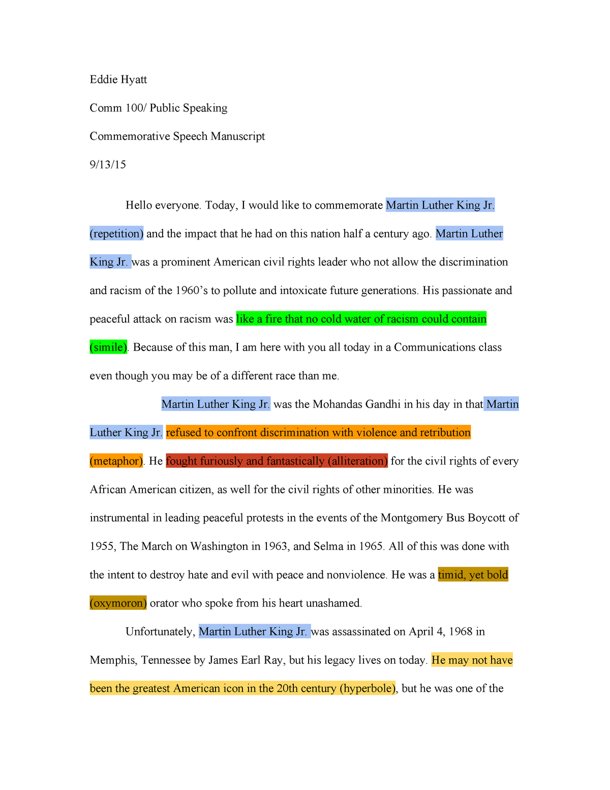 Eddie Hyatt - Final Draft Commemorative Speech - COMM 100