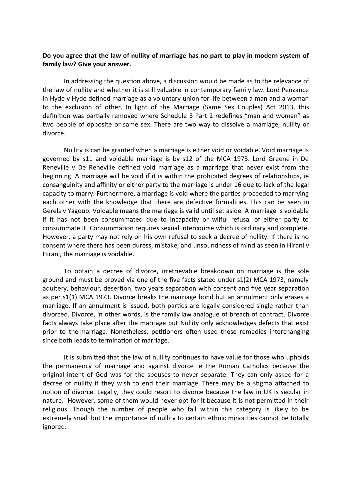 Essay for Nullity - Grade: B+ - Family Law LA0756 - StuDocu