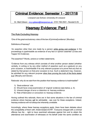 Criminal Evidence 2017-18 Hearsay and Confessions Lecture