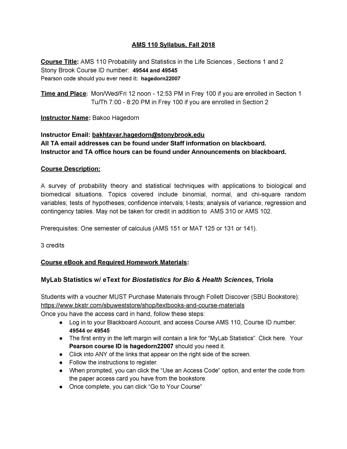 AMS 110 Spring 2019 Syllabus - AMS 572: Applied Statistics