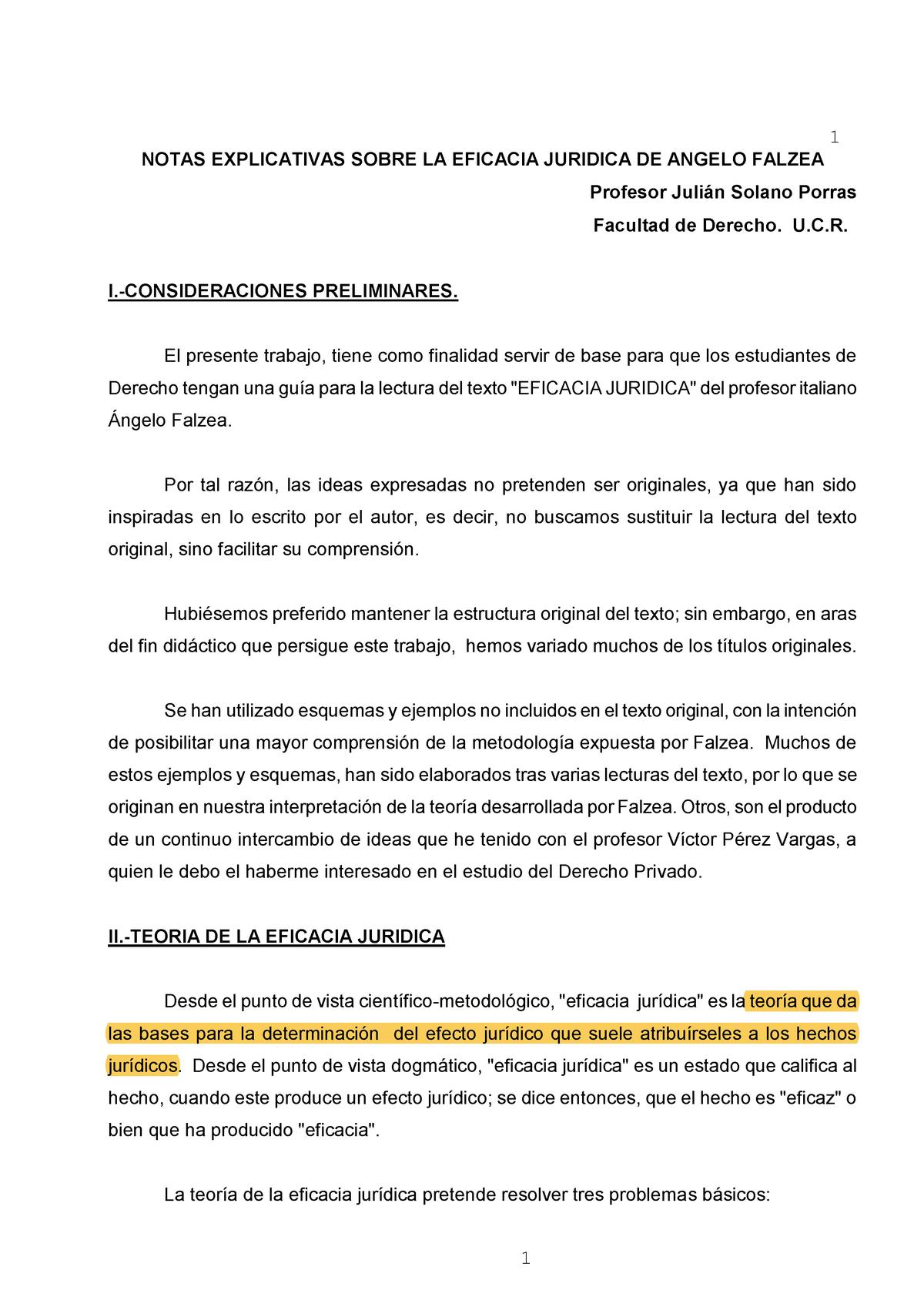 Resumen Eficacia Jurídica De2001 Ucr Studocu