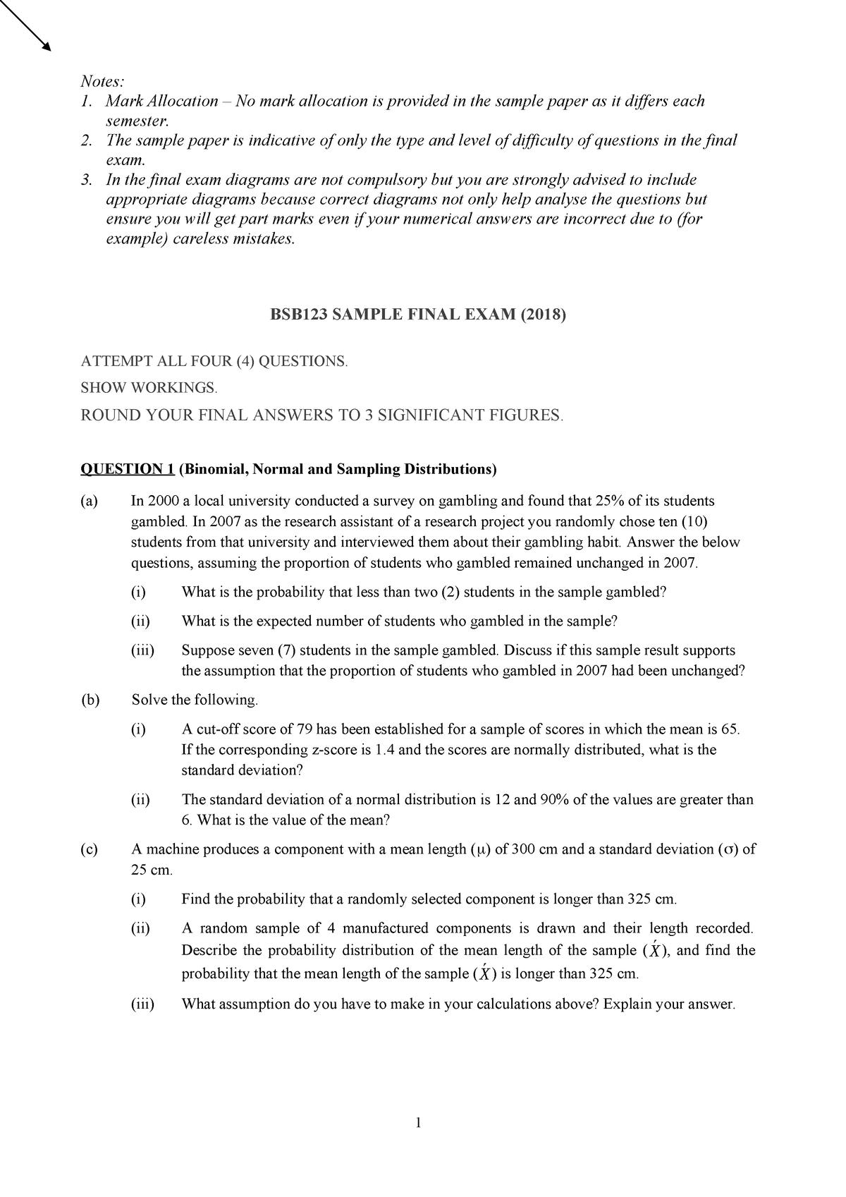 Final Exam 4 2020  Questions - Bsb123 Data Analysis - Qut