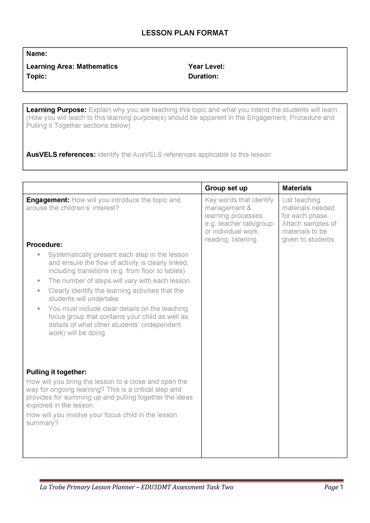 Primary Lesson planner Template - EDU3DMT: Developing Mathematical