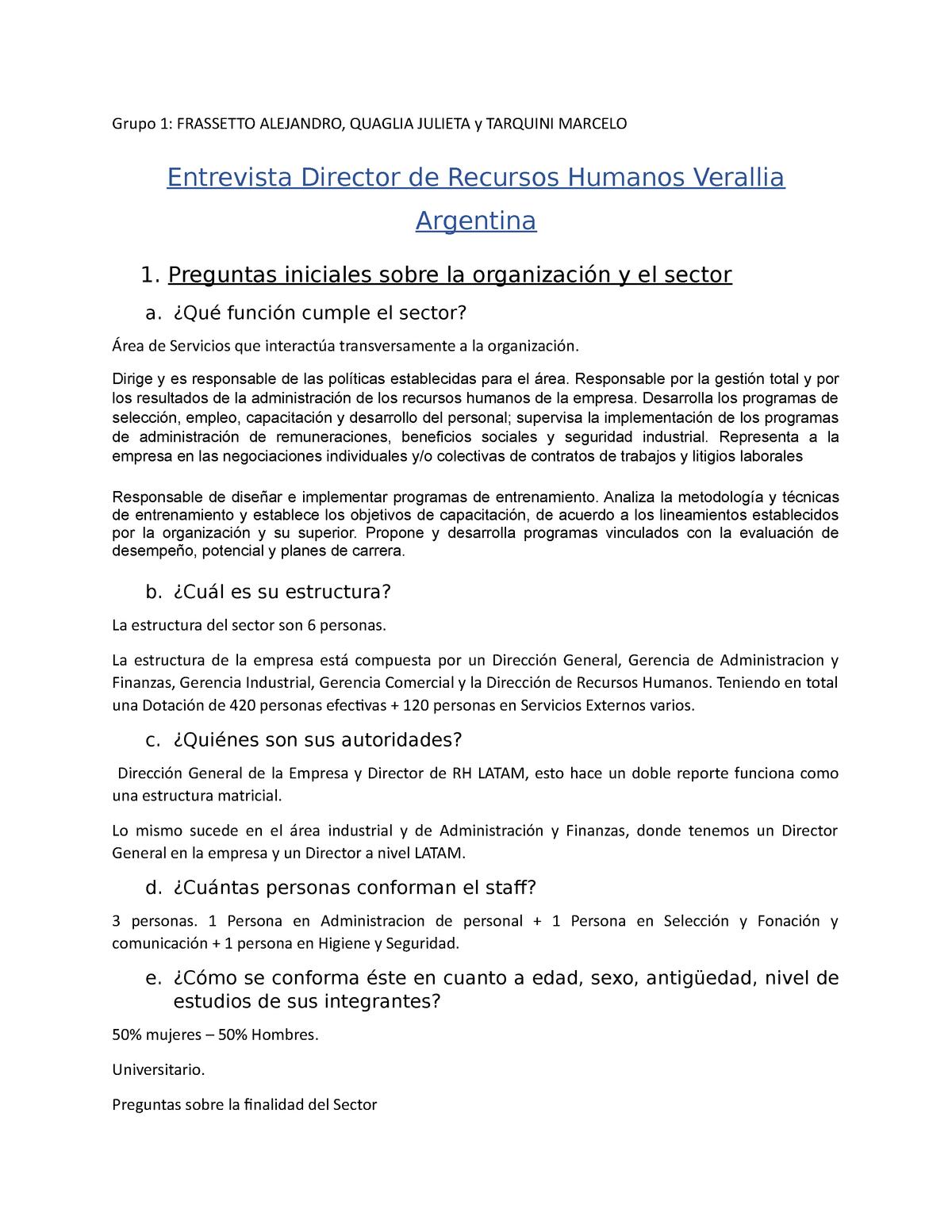 Grupo 1 Entrevista Rh Nota 10 Ba0203 Unfv Studocu