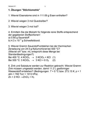 2012 ÜBung 1 - 14 Mit LöSung - T1AA-BLN: Allgemeine und Anorganische ...