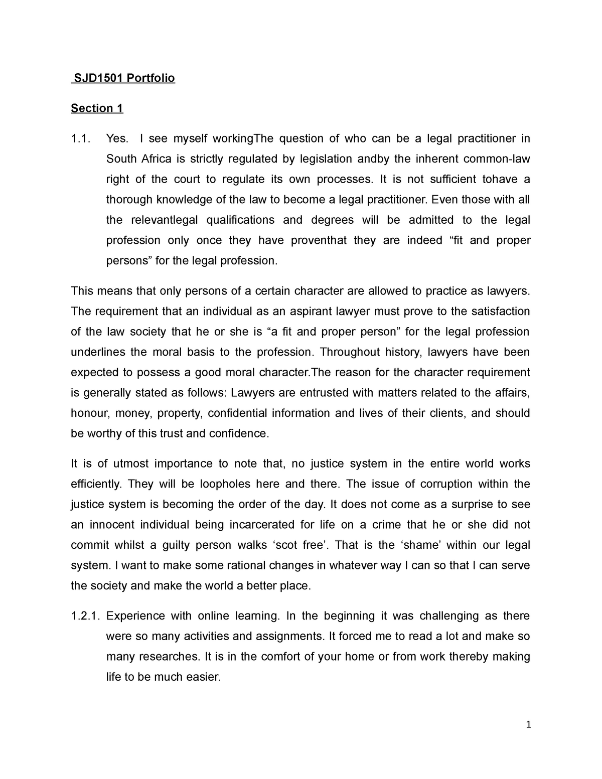 Sjd1501 Portfolio Sjd1501 Social Dimension Of Justice Studocu