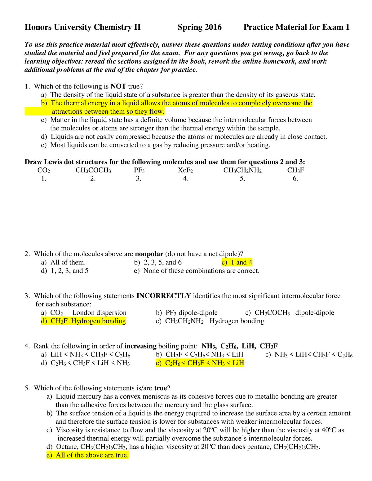 Exam 2017 - CHEM 1123H: Hnrs University Chem Ii - StuDocu