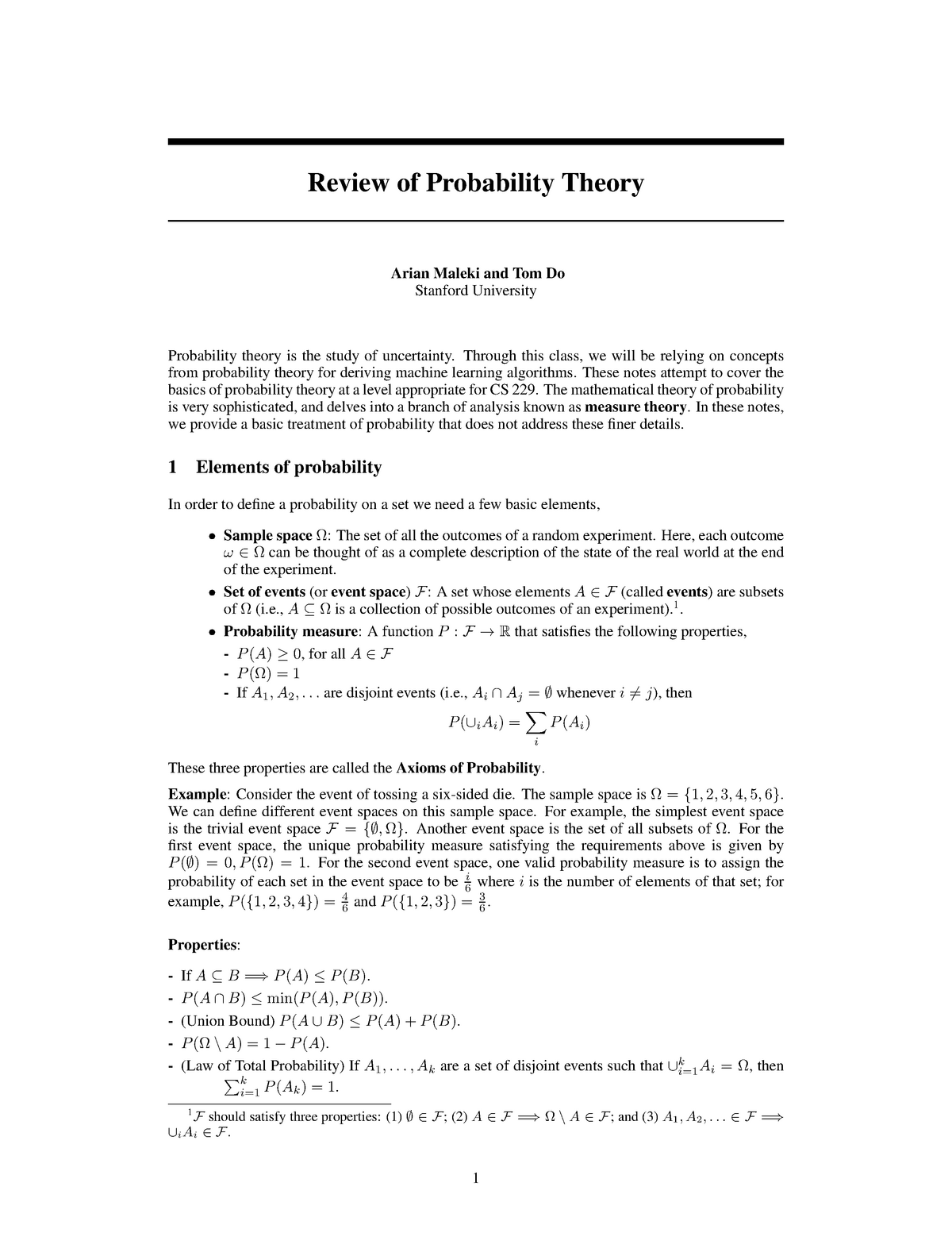 Lecture notes, lectures 10 - 12 - Including problem set - CS 229