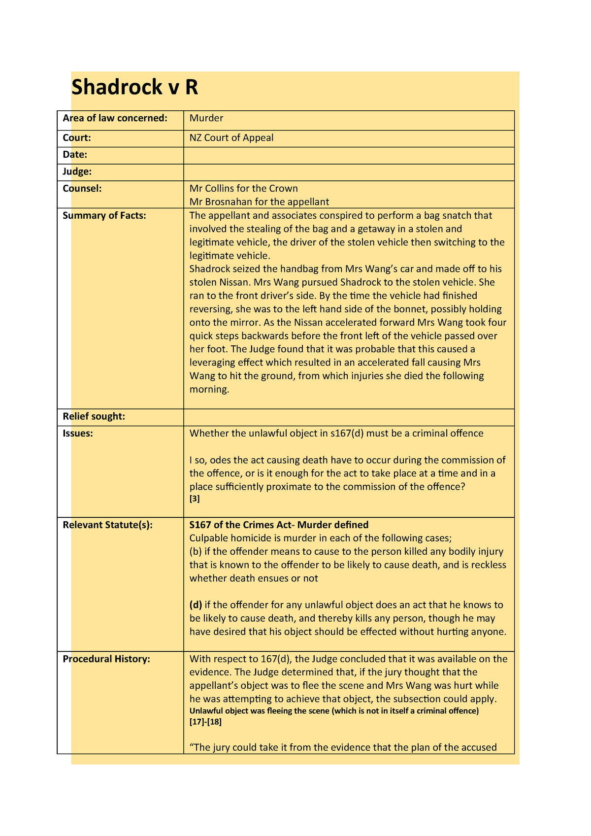 Shadrock v R - Detailed case brief, including paragraph/page