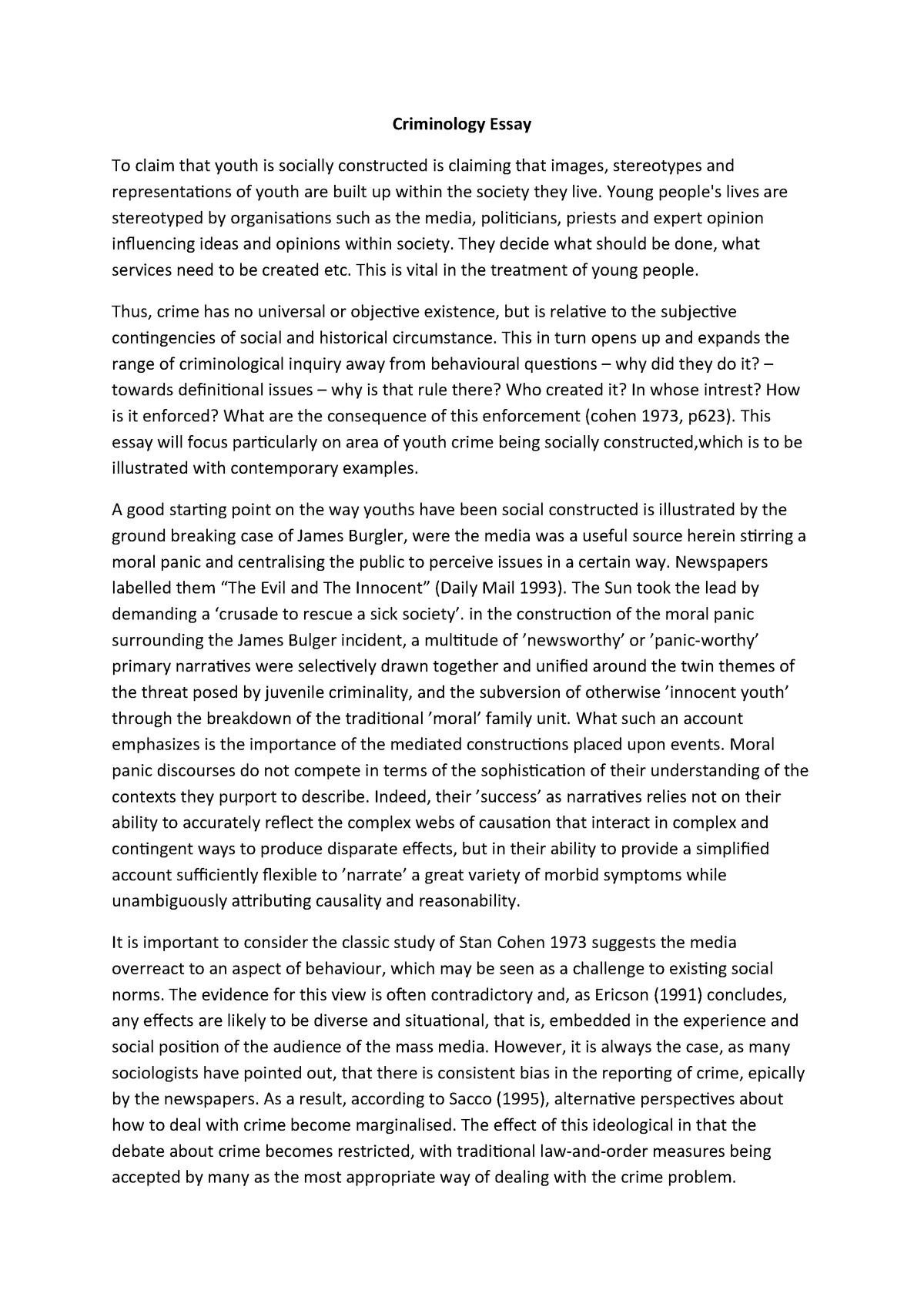 Free Criminology Essay Samples | Uni Assignment Centre