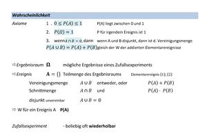 Zusammenfassung Stochastik: komplett - Stochastik
