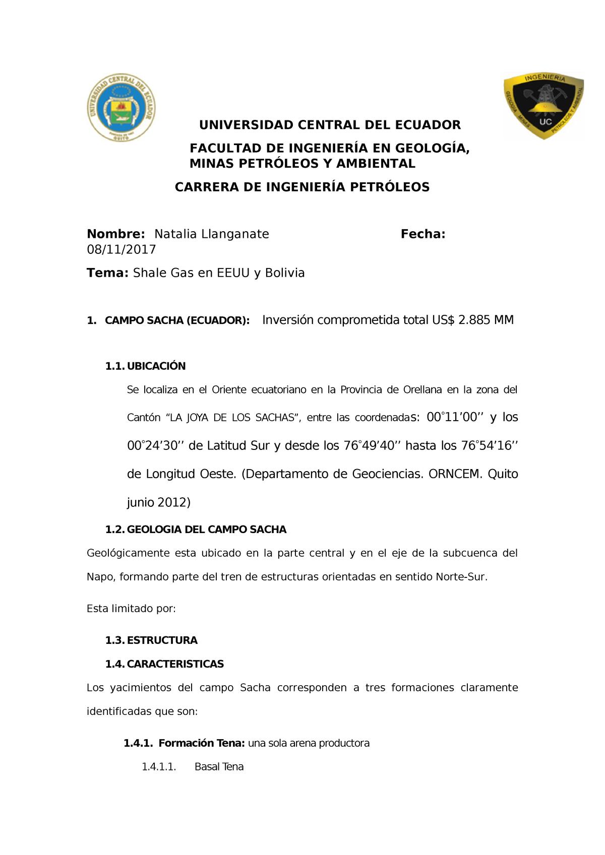 Campo Sacha Estructuras Geologicas Geología Uv Studocu